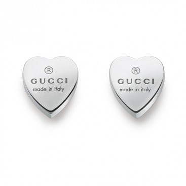 Gucci Sterling Silver Trademark Heart Motif Earrings