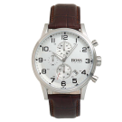 Hugo Boss Gents Brown Leather Strap Watch With Silver Face