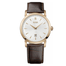 Hugo Boss Gents Watch With Brown Leather Strap And Rose Gold Bezel