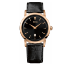 Hugo Boss Gents Watch With Black Leather Strap And Rose Gold Bezel