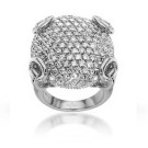 Gucci 18ct White Gold/Diamonds Horsebit Cocktail Ring